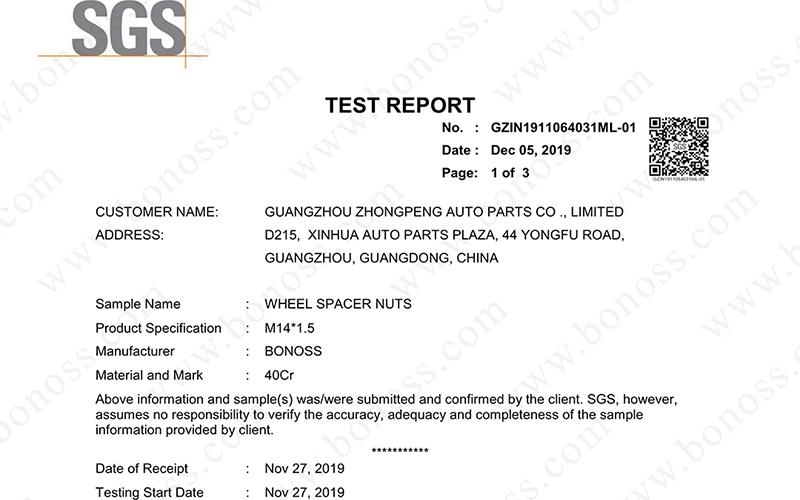 sgs test report for bonoss wheel spacer nuts m14x1 5 proof load test no gzin1911064031ml 01. Black Bedroom Furniture Sets. Home Design Ideas