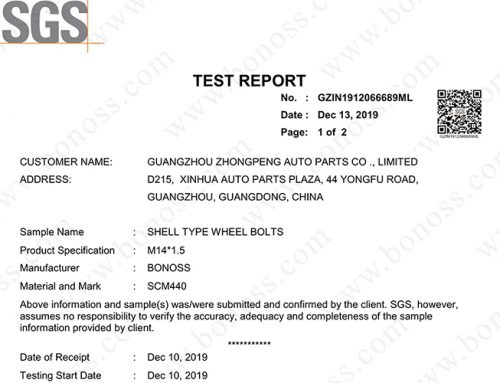SGS Test Report for BONOSS Shell type Wheel Bolts M14x1.5 Chemical Composition Analysis Test (No: GZIN1912066689ML)
