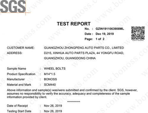 SGS Test Report for BONOSS Wheel Bolts M14x1.5 One Million Times Limited Life Range Test  (No: GZIN1911063908ML)