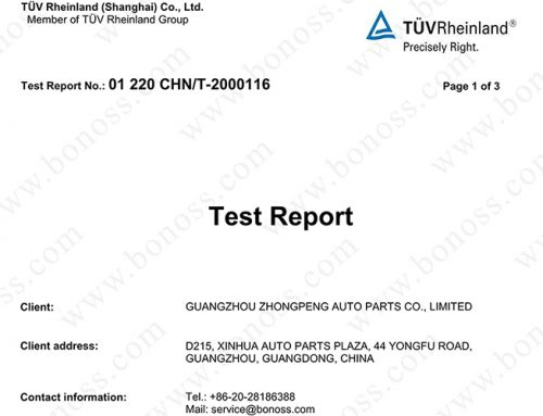 TUV Test Report for BONOSS Wheel Studs M14x1.5 Chemical Composition Analysis Test (No: 01 220 CHN/T-2000116)