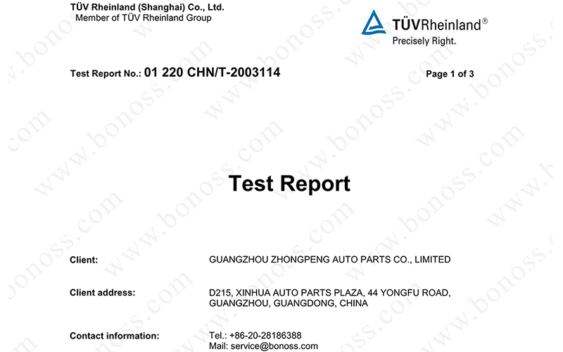 TUV Hardness Test Report for BONOSS Titanium Exposed Wheel Stud Conversion Nuts