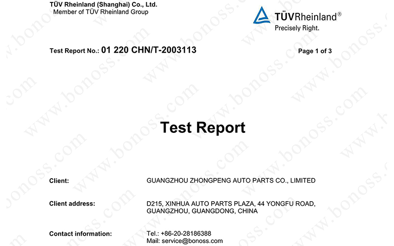 TUV Proof Load Test Report for BONOSS Titanium Exposed Wheel Stud Conversion Nut