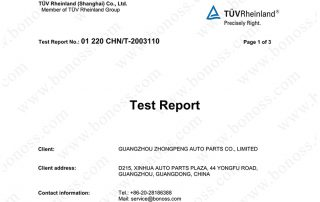TUV Test Report for BONOSS Titanium Exposed Wheel Stud Conversion Hardness Test 3110