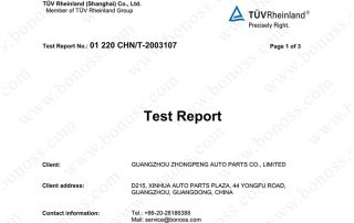 TUV Test Report for BONOSS Titanium Exposed Wheel Stud Conversion Tensile Test