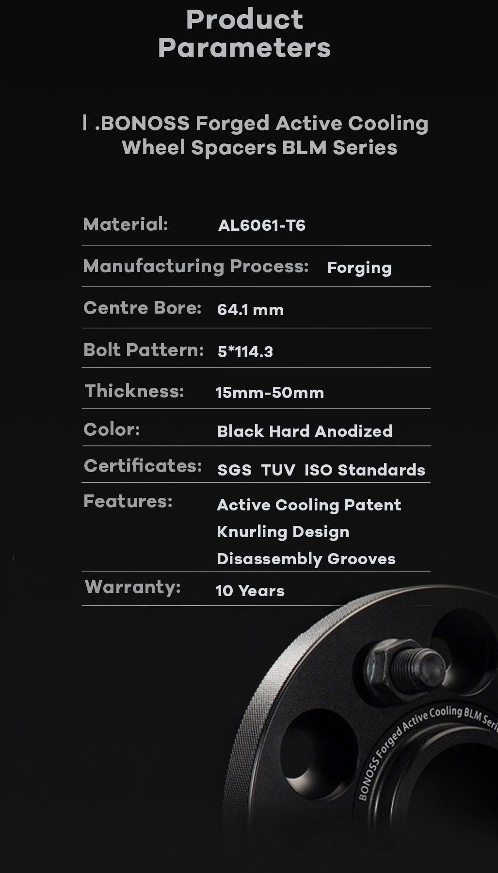 AL6061-T6 BONOSS-forged-active-cooling-5x114.3 wheel-spacer--for Tesla Model3 Model Y by-lulu-12