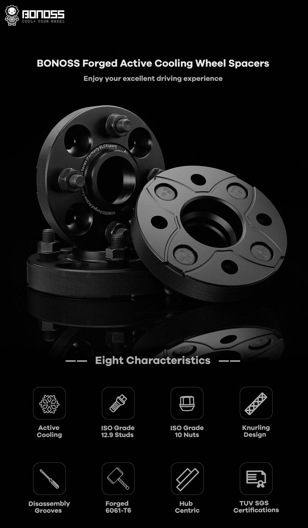 AL6061-T6 BONOSS-forged-active-cooling-hubcentric 4x100 wheel-spacer-by-lulu-1