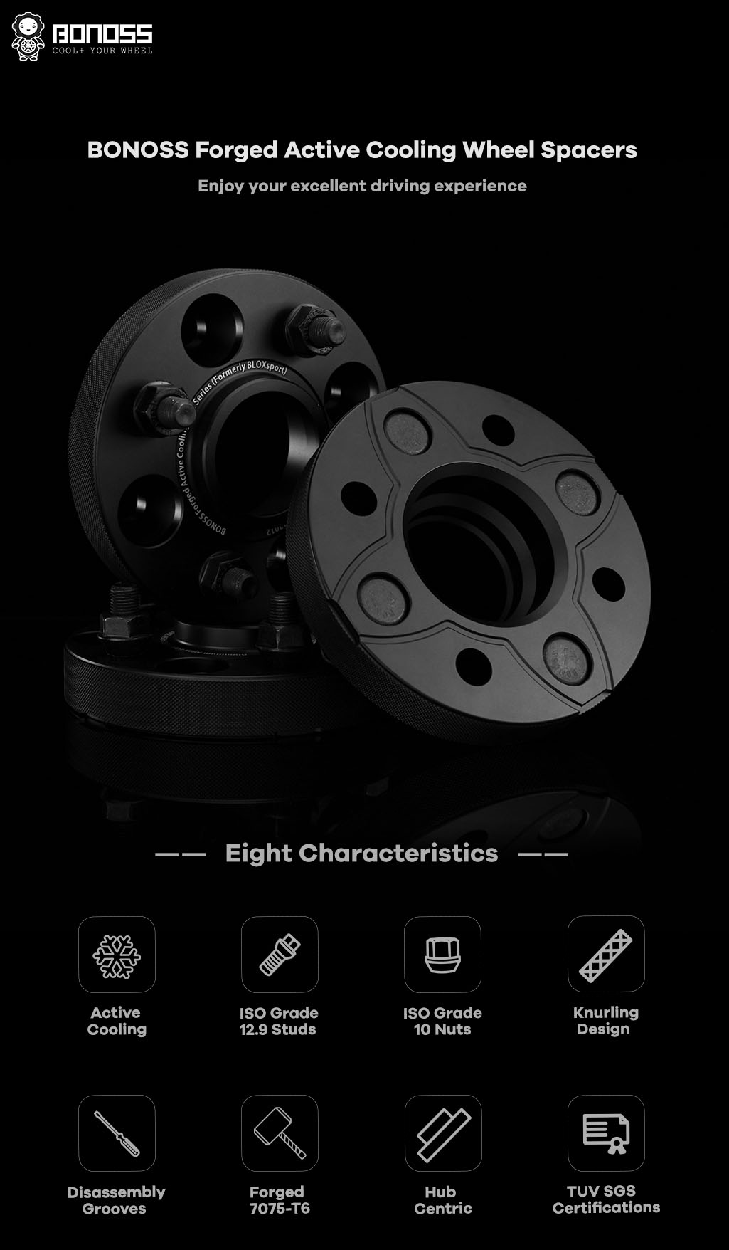 AL7075-T6 BONOSS-forged-active-cooling-hubcentric 4x110 wheel-spacer-by-lulu-1