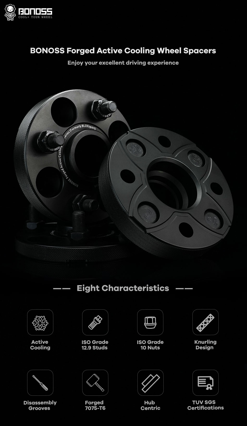 BONOSS Forged Active Cooling Hubcentric Wheel Spacers 4 Lug Wheel Adapters Wheel ET Spacers AL7075-T6