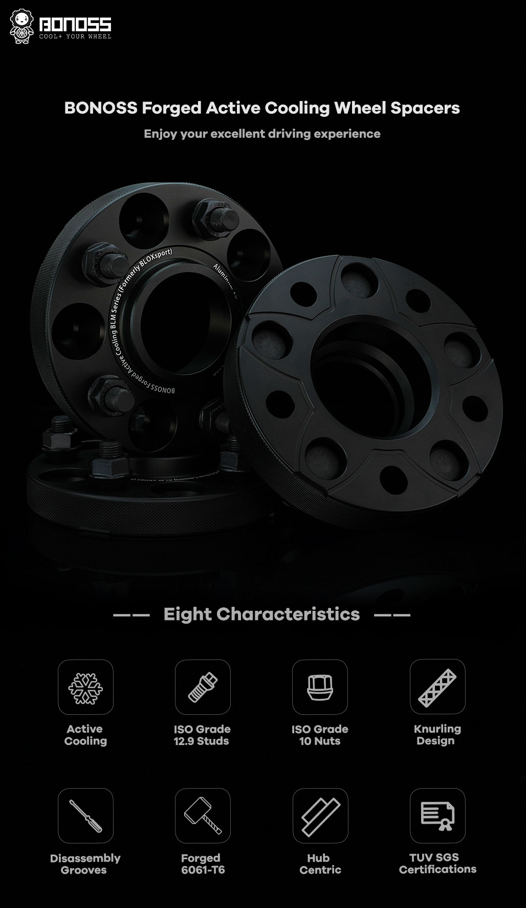 BONOSS Forged Active Cooling Hubcentric Wheel Spacers 5 Lug Wheel Adapters Wheel ET Spacers AL6061-T6