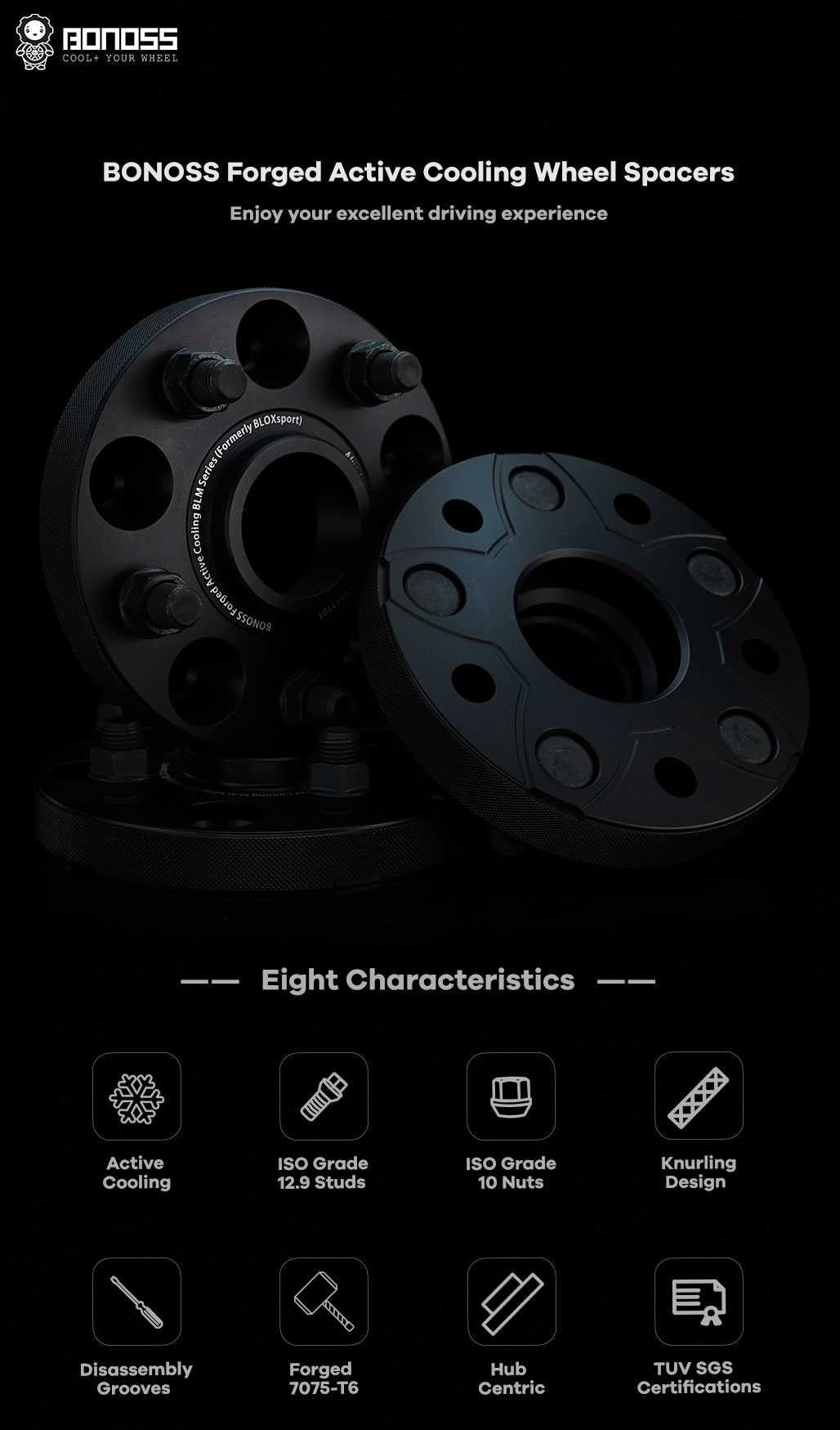 BONOSS Forged Active Cooling Hubcentric Wheel Spacers 5 Lug Wheel Adapters Wheel ET Spacers AL7075-T6
