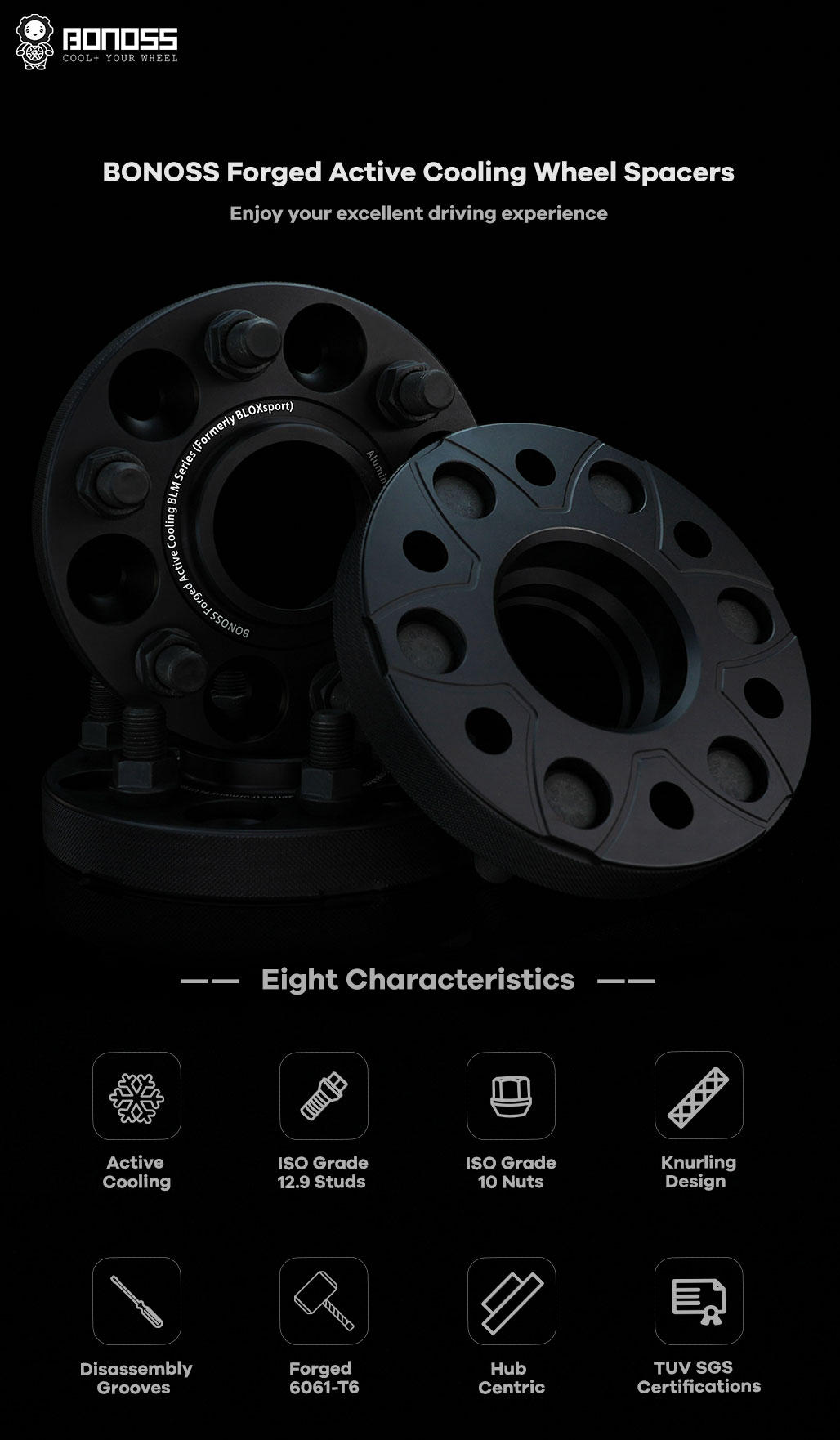 BONOSS Forged Active Cooling Hubcentric Wheel Spacers 6 Lug Wheel Adapters Wheel ET Spacers AL6061-T6 V