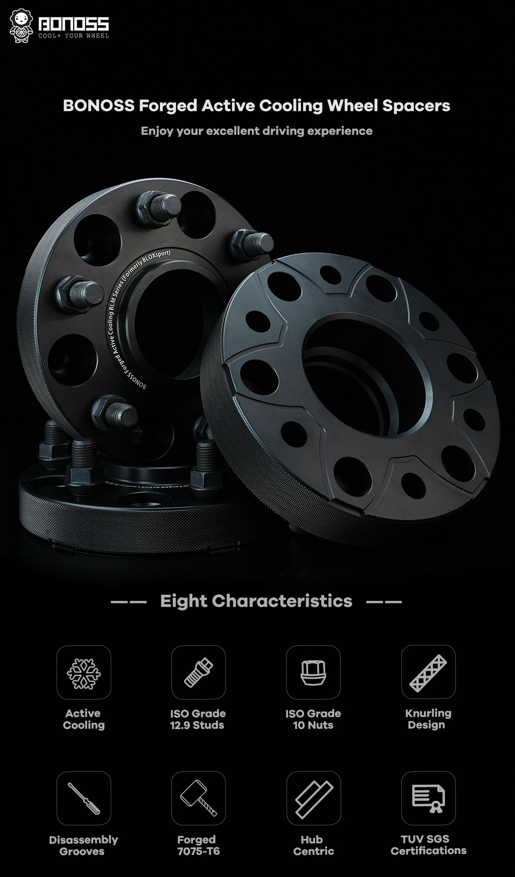 BONOSS Forged Active Cooling Hubcentric Wheel Spacers 6 Lug Wheel Adapters Wheel ET Spacers AL7075-T6 C