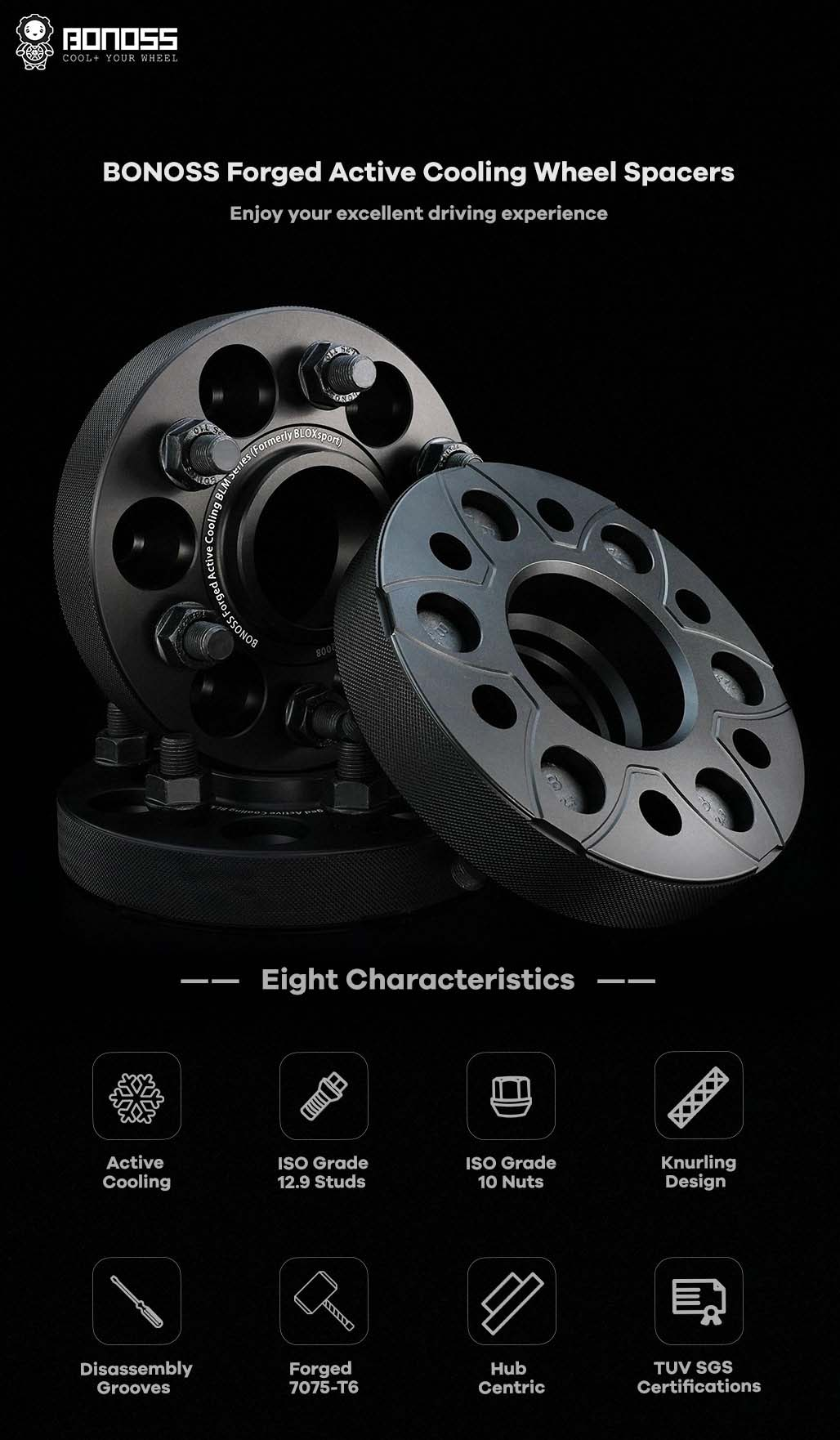BONOSS Forged Active Cooling Hubcentric Wheel Spacers 6 Lug Wheel Adapters Wheel ET Spacers AL7075-T6