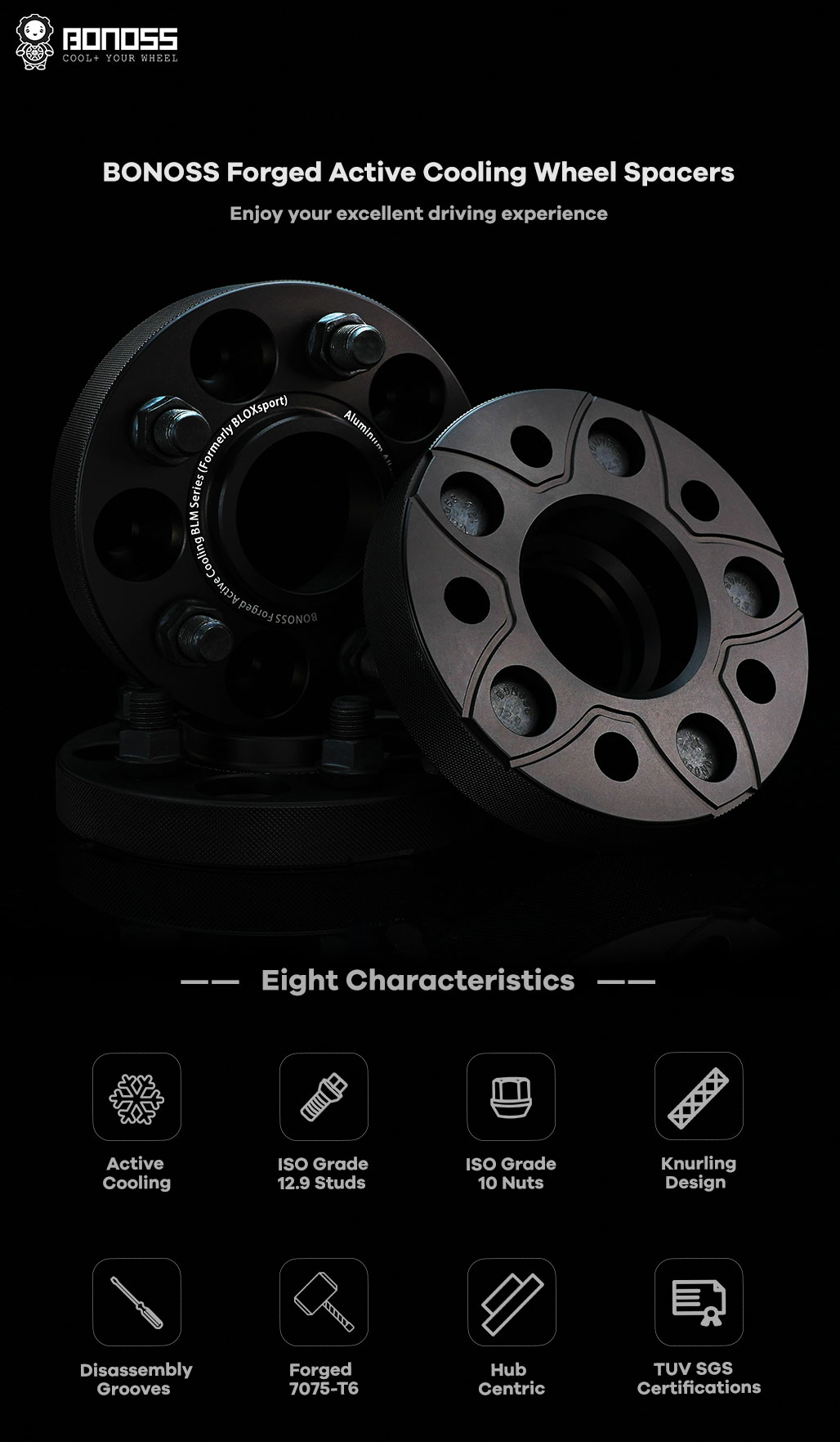 BONOSS Forged Active Cooling Wheel Spacers Hubcentric 5 Lug Wheel Spacers Wheel ET Spacers AL7075-T6 M