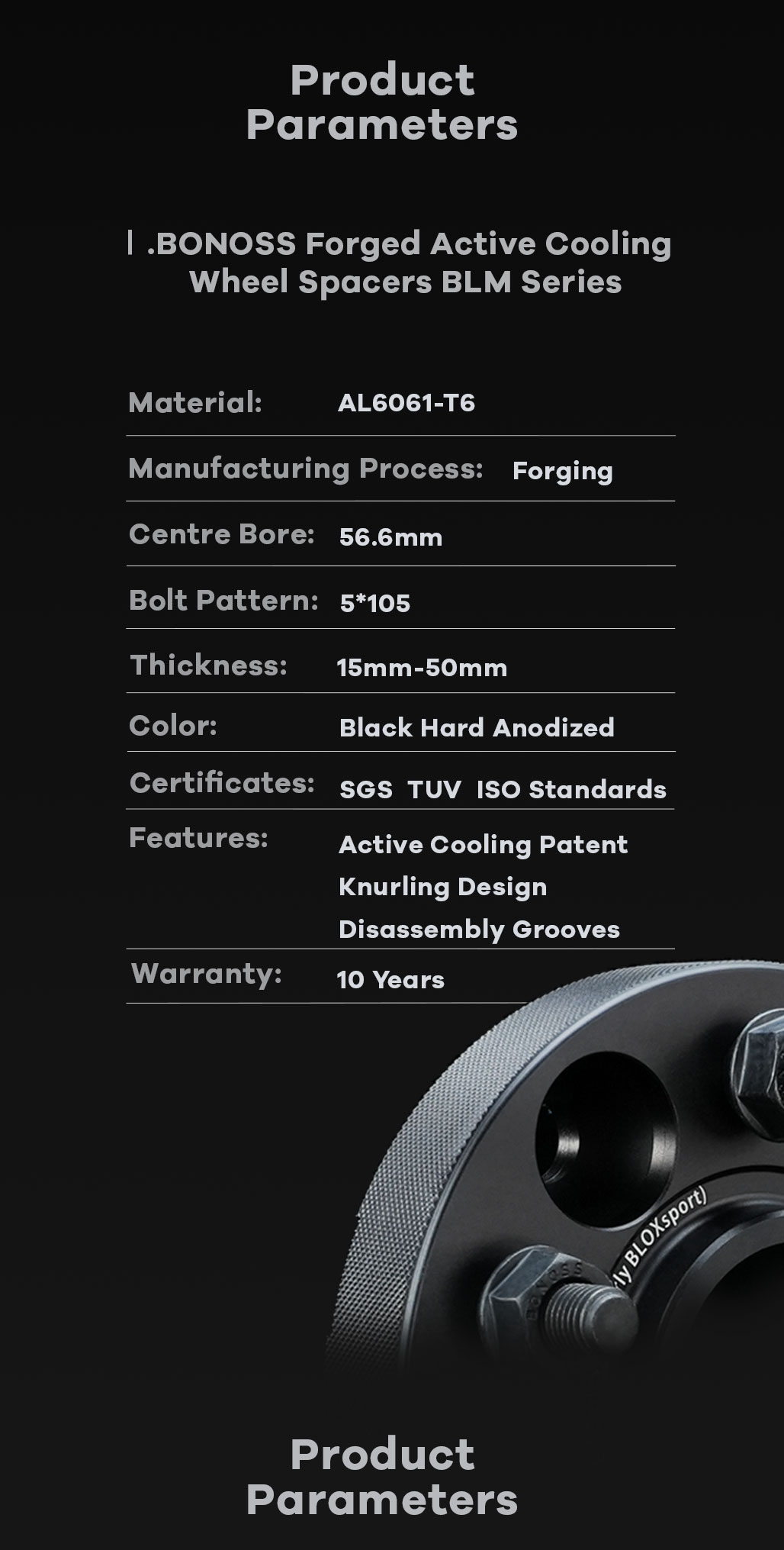BONOSS Forged Active Cooling Wheel Spacers Hubcentric PCD5x105 CB56.6 AL6061-T6 for Holden Trax 2013-2021 (11)