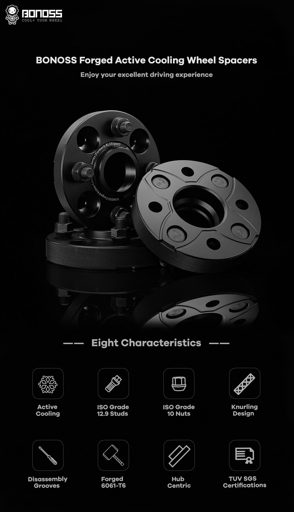BONOSS-forged-active-cooling-wheel-spacer-mitsubishi-mirage-4x100-56.1-M12x1.5-6061T6-by-grace-1