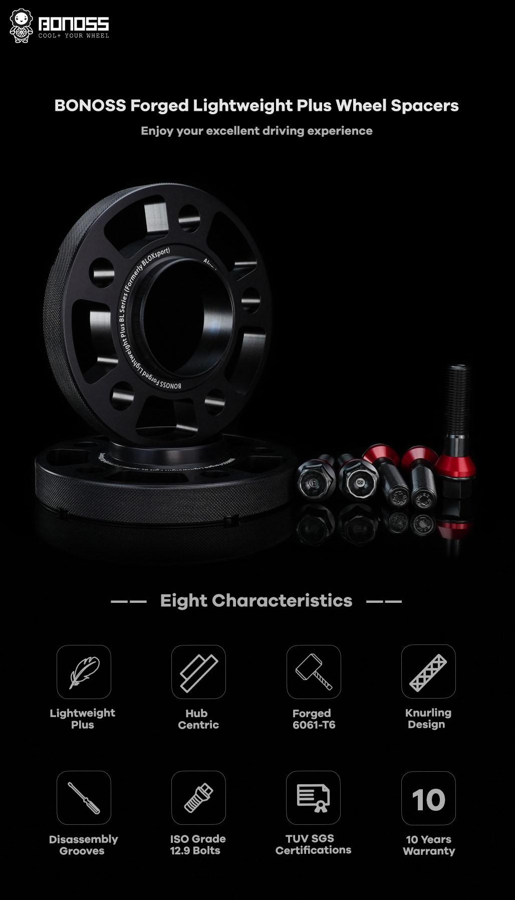 AL6061-T6 BONOSS forged lightweight plus wheel spacers 5x112 66.5 14x1.25 cone seat-by lulu-1
