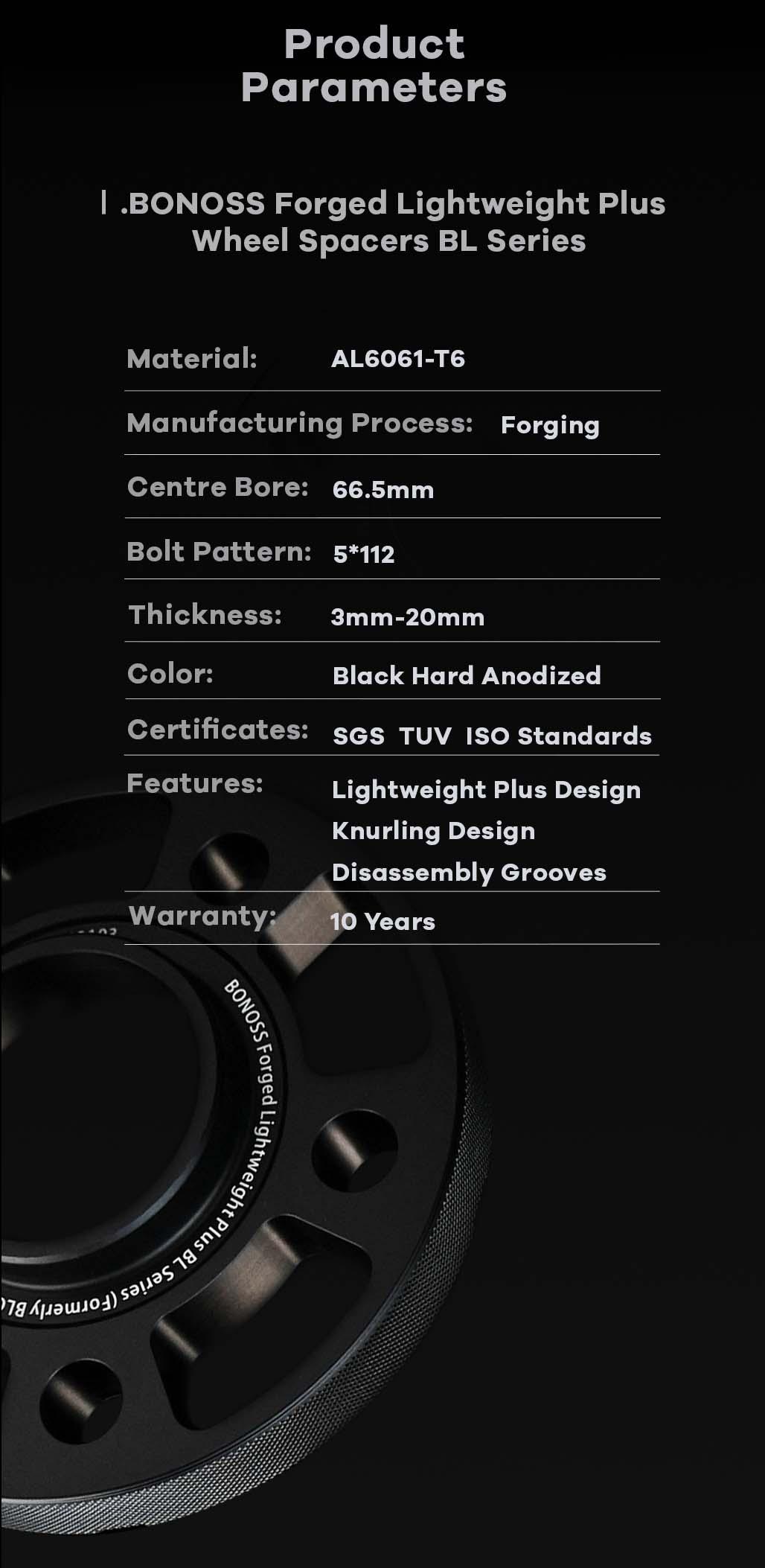 AL6061-T6 BONOSS forged lightweight plus wheel spacers 5x112 66.5 14x1.25 cone seat-by lulu-9