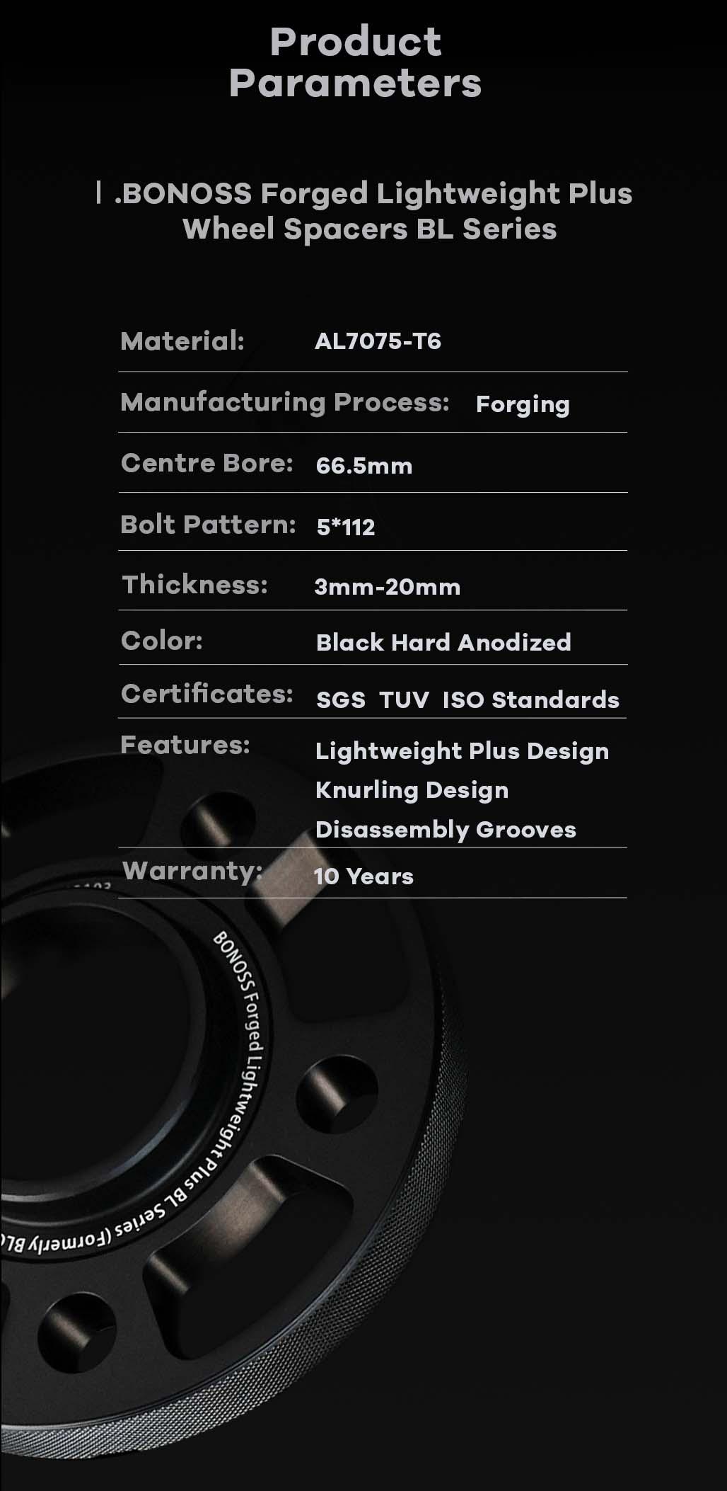 AL7075-T6 BONOSS forged lightweight plus wheel spacers 5x112 66.5 14x1.25 cone seat-by lulu-9