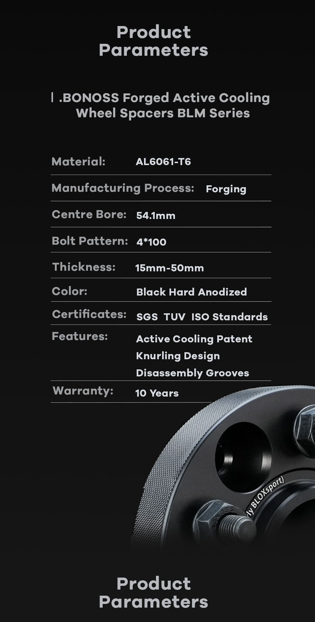 BONOSS Forged Active Cooling Hubcentric Wheel Spacers 4x100 Wheel Adapters AL6061-T6 Material CB54.1
