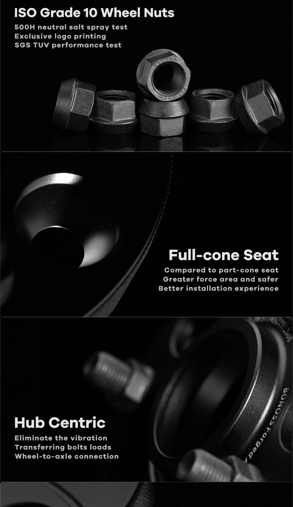 BONOSS Forged Active Cooling Hubcentric Wheel Spacers 6 Lug Wheel Adapters Wheel ET Spacers Car Wheel Spacers S (4)