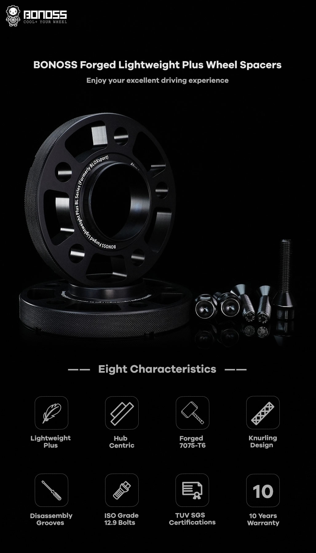BONOSS Forged Lightweight Plus Hubcentric Wheel Spacers 5 Lug Wheel Adapters Car Wheel ET Spacers AL7075-T6 F