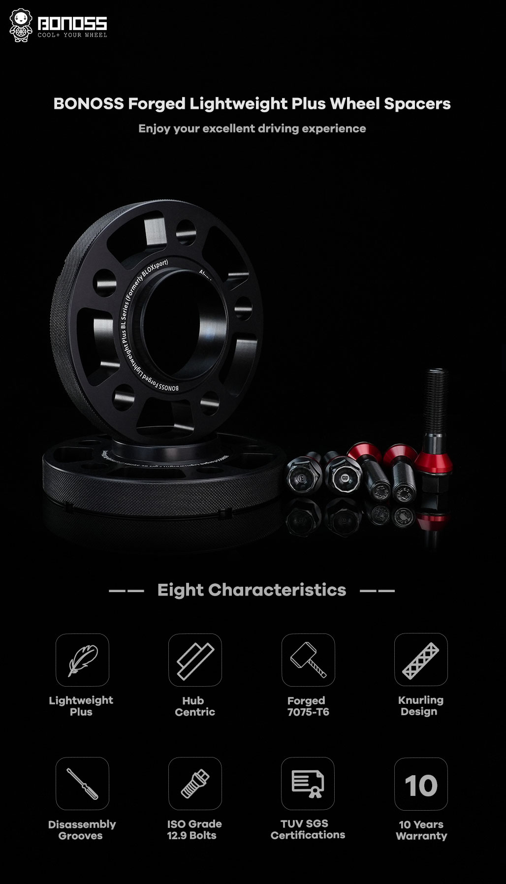 BONOSS Forged Lightweight Plus Hubcentric Wheel Spacers 5 Lug Wheel Adapters Wheel ET Spacers AL7075-T6