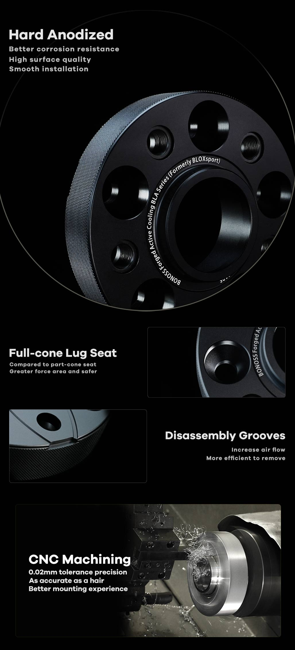 BONOSS Forged Active Cooling Hubcentric Wheel Spacers 5 Lugs Wheel Adapters Aluminum Car Wheel Spacers High Performance (3)