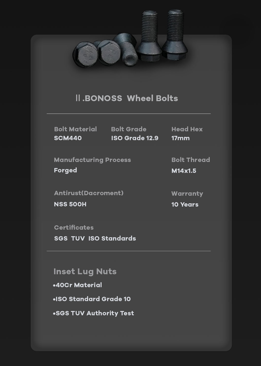 BONOSS Forged Active Cooling Hubcentric Wheel Spacers 5 Lugs Wheel Adapters M14x1.5 Wheel Bolts