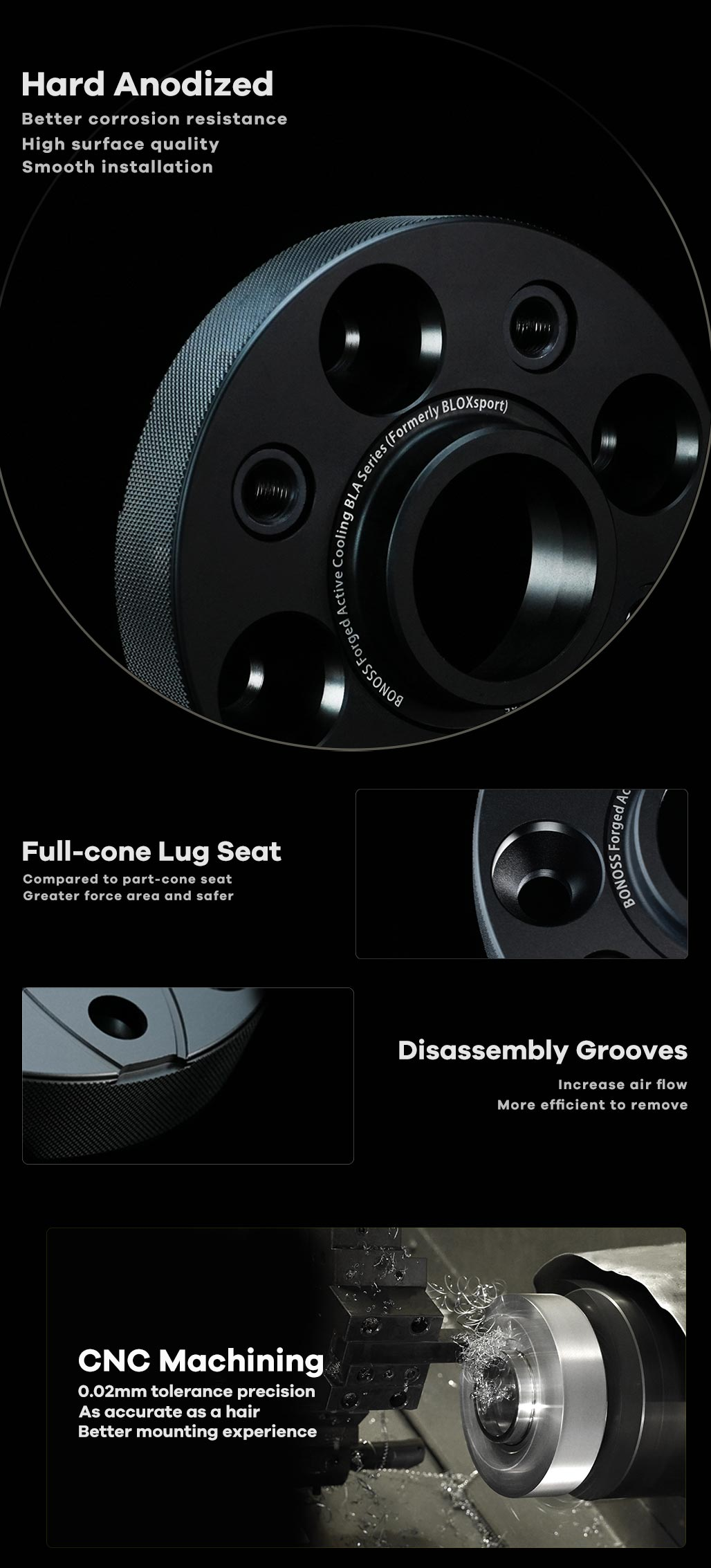 BONOSS Forged Active Cooling AL6061-T6 Hubcentric Wheel Spacers PCD4x100 CB60.1 for Renault II Kangoo Compact 2013-2021 (3)