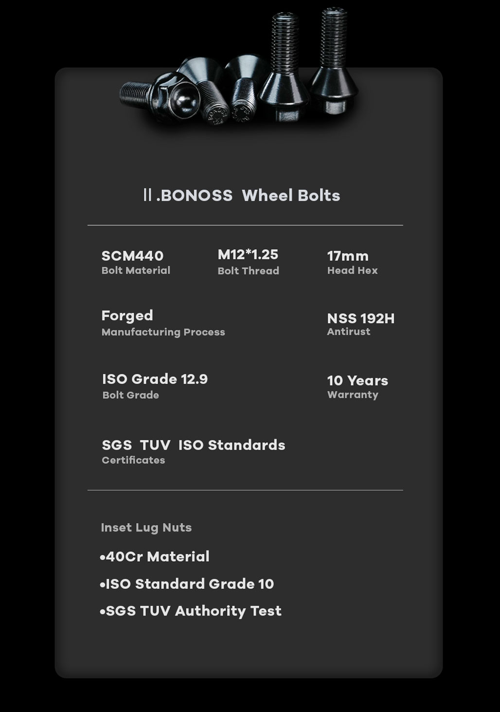 BONOSS Forged Active Cooling Hubcentric 5 Lug Wheel Spacers High Performance M12x1.25 Car Wheel Bolts