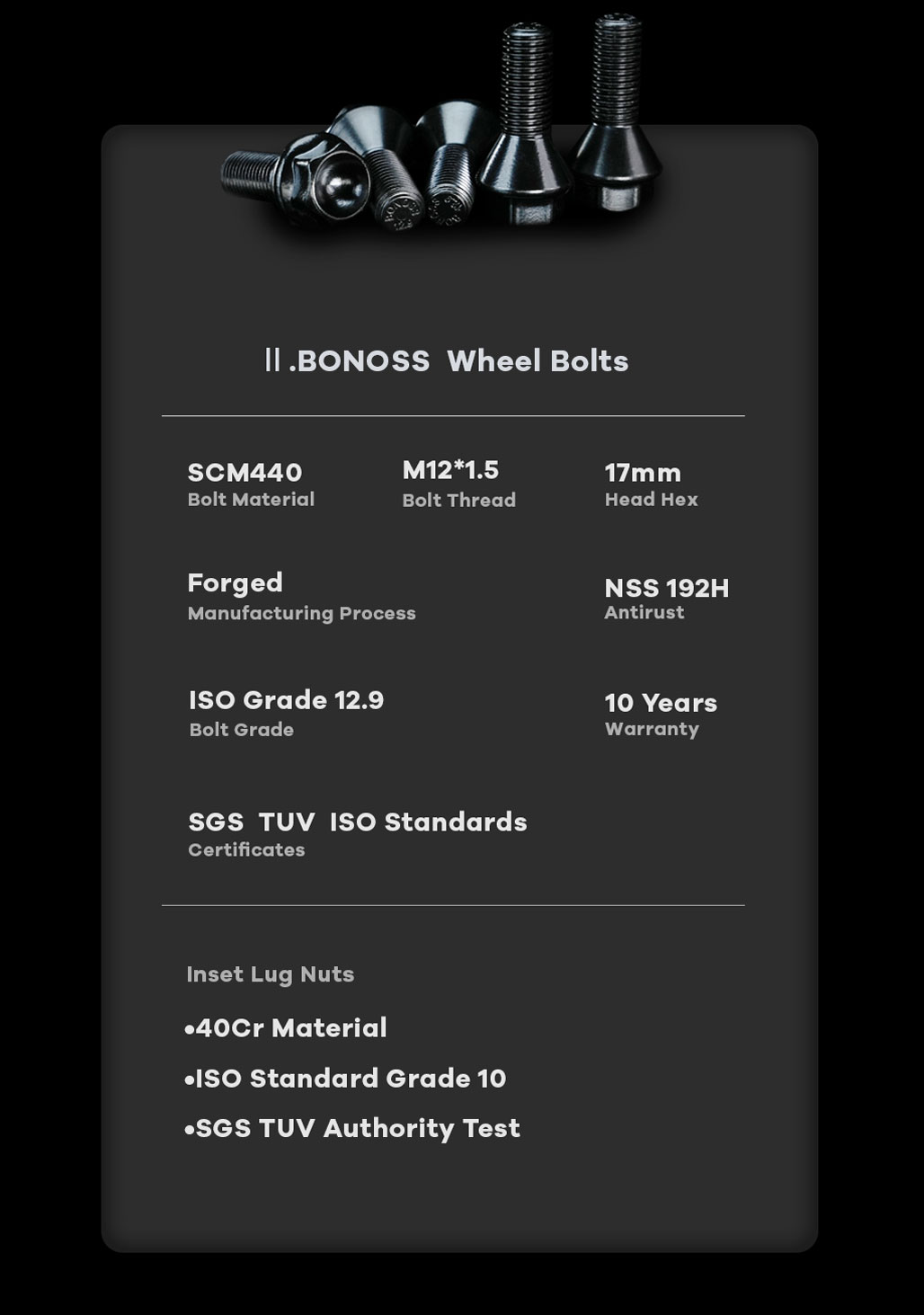 BONOSS Forged Active Cooling Hubcentric 5 Lug Wheel Spacers High Performance M12x1.5 Car Wheel Bolts
