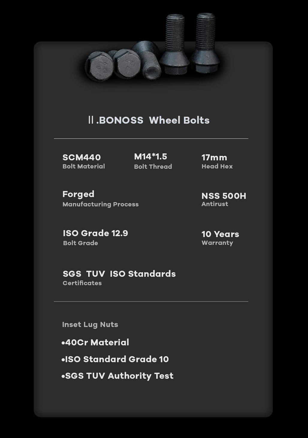 BONOSS Forged Active Cooling Hubcentric 5 Lug Wheel Spacers High Performance M14x1.5 Car Wheel Bolts