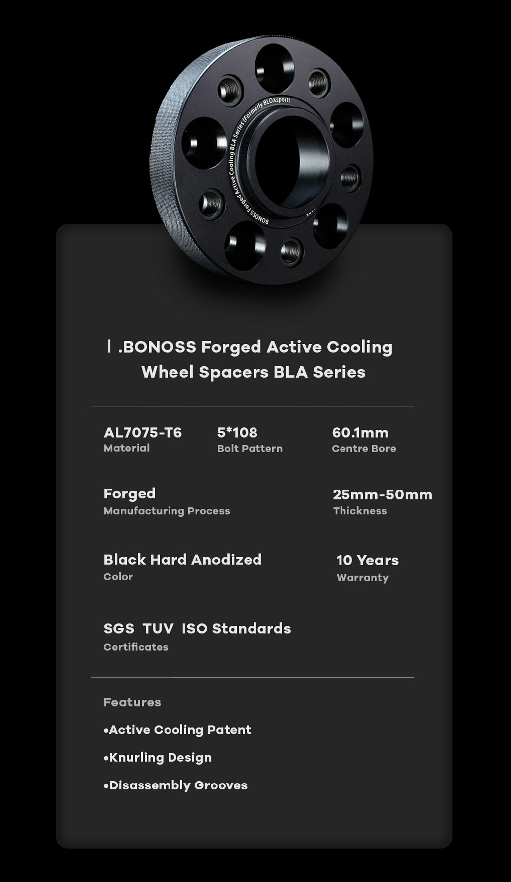 BONOSS Forged Active Cooling Hubcentric Wheel Spacers 5x108 Wheel Adapters 7075-T6 Aluminum CB60.1 Wheel Spacers